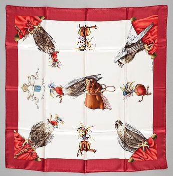 "434. A silk scarf ""Chasse a vol"" by Hermès."