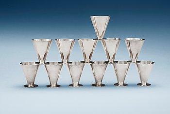 514. Wiwen Nilsson, A set of twelve Wiwen Nilsson sterling glasses, Lund 1933-51.