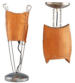 13. A TABLE LAMP AND A CEILING LAMP.