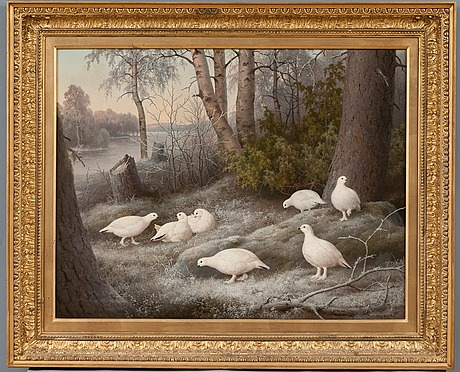 "Ferdinand von wright, "" a bevy of ptarmigans by the river""."