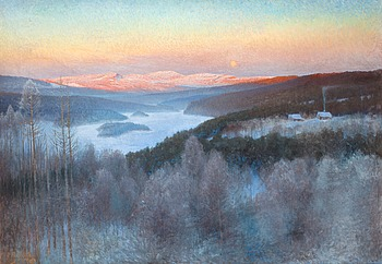"""88. ANSHELM SCHULTZBERG, """"Landskap i Jämtland"""" (Landscape from Jämtland)."""