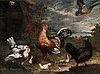 Melchior de hondecoeter hans efterföljd, hök attackerande hönsfamilj.