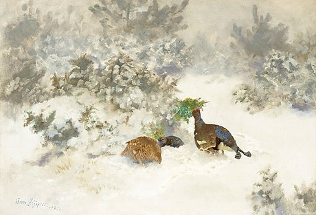 Bruno liljefors, winter landscape with black grouse and grey hen.