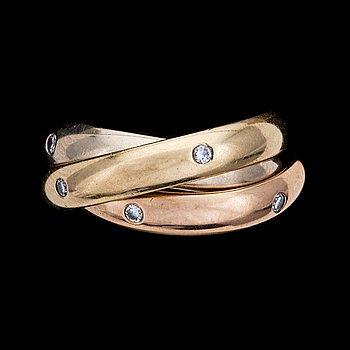 11. RING, Cartier, 'Trinity', gold 'en trois coleurs', with brilliant cut diamonds, 1999.