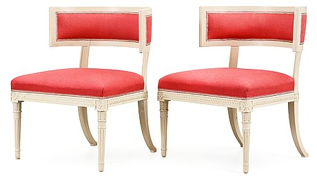 A pair of late gustavian armchairs by e. ståhl.