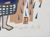 Tryck, 3 st samramade. japan, 1900-talets mitt. sign.