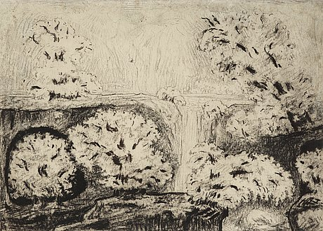 Carl fredrik hill, landscape with waterfall and fruit trees in bloom.