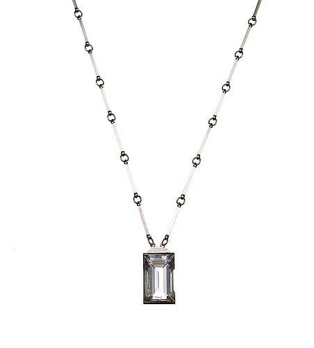 Wiwen nilsson, a wiwen nilsson rock crystal pendant and chain, lund 1944.