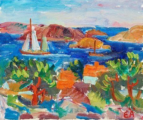 Erling Ärlingsson, kustmotiv med segelbåt.