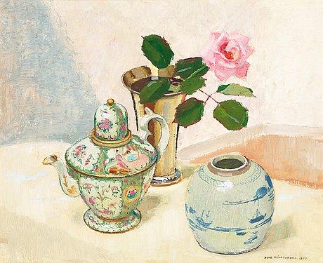Olle hjortzberg, stilleben med ros och kinesiskt porslin.