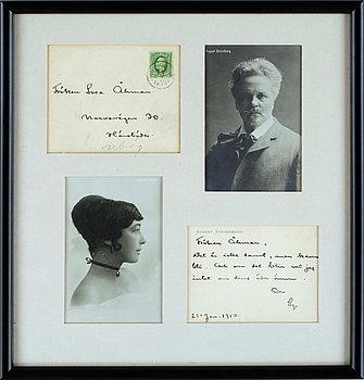 PERSONLIGT BREVKORT MED KUVERT, August Strindberg, egenhändigt skrivet, signerat och daterat 21 jan 1910.