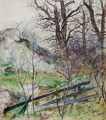 Julia beck, forest glade with fence.