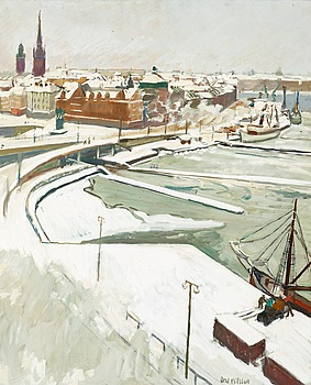 "9. Axel Nilsson, ""Slussen i snö"" (Slussen,Stockholm in snow)."