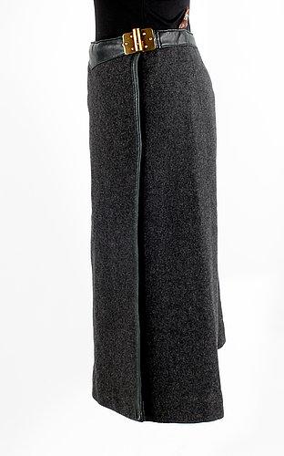 A 1980s grey wool skirt by hermès.