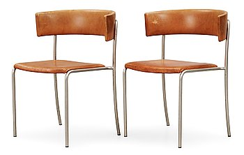 16. A pair of Erik Karlström steel and brown leather chairs, Stockholm ca 1965.