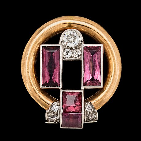 Brosch, cartier, gammalslipade diamanter, tot. ca 0.50 ct.