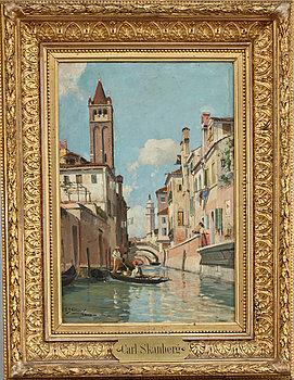 CARL SKÅNBERG, Kanalmotiv från Rio di San Barnaba, Venedig.