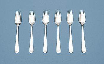518. Wiwen Nilsson, A set of six Wiwen Nilsson sterling forks, Lund 1964.