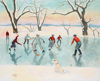 "87. EINAR JOLIN, ""Hockeyspelare"" (Hockey players)."