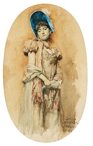 "Jenny nyström, ""kvinna i bahytt"" (woman in bonnet)."