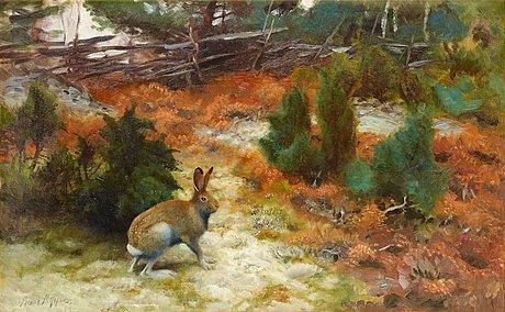Bruno liljefors, autumn landscape with hare.