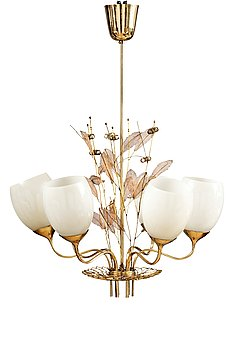 316. Paavo Tynell, A SIX-LIGHT CEILING LAMP.