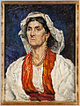 Woman with red scarf and white headdress.