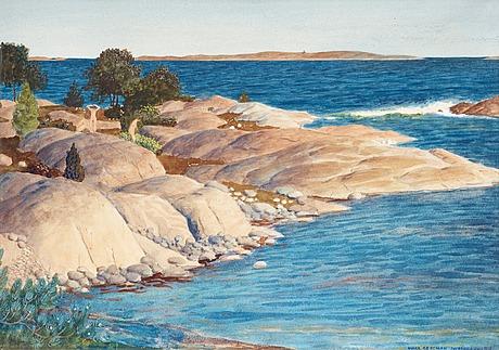 Oskar bergman, coastal landscape from sandhamn.