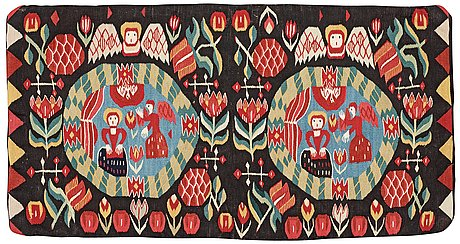 "Cushion. ""the annunciation"". flamskväv (tapestry weave). skåne first half of the 19th century."