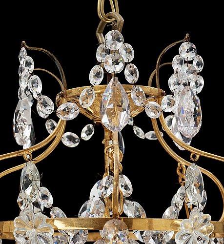 Ljuskrona, för sex ljus. gustaviansk stil, 1800/1900-tal.
