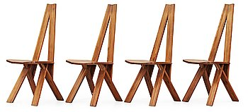 115. A set of four elm dinning chairs by Pierre Chapo, France 1960's.