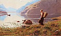 HANS DAHL, A young girl in a fjordlandscape...