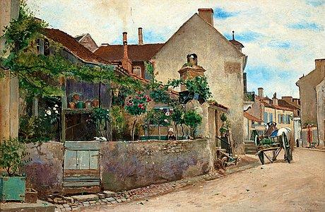 Hjalmar sandberg, street scene from vichy.