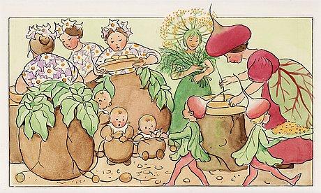 """Elsa beskow, ur """"fest i potatislandet""""."""