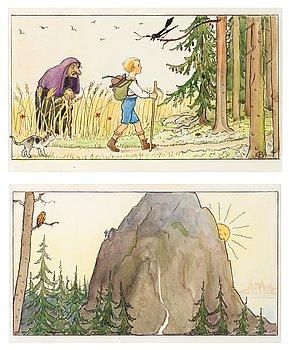 ELSA BESKOW, ett par, akvarell och tusch, en med monogramsign.