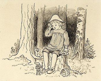 """ELSA BESKOW, """"Putte i blåbärsskogen""""."""