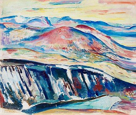 """Leander engström, """"högfjällslandskap från somaslaki""""."""