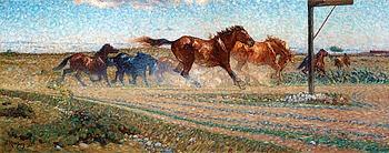 """NILS KREUGER, """" 'Hästar i det fria' (Öland)""""."""