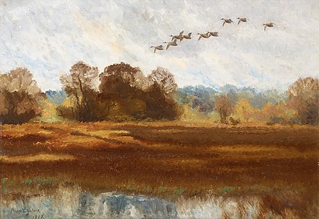 Bruno liljefors, a flight of wild ducks.