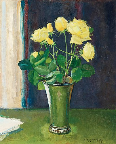 Olle hjortzberg, still life with yellow roses in silver vase.