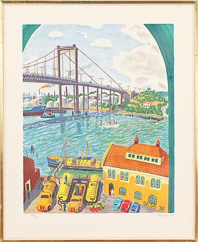 Mona huss walin, färglitografi, sign, dat -77 och numr 374/460.