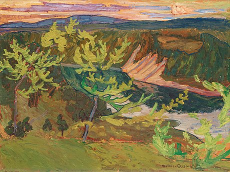 "Helmer osslund, ""nipor i kvällssol"" (swedish river landscape)."