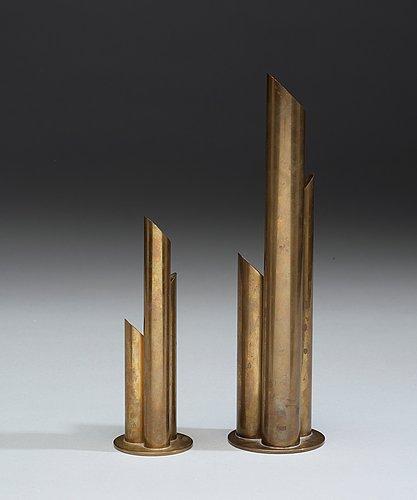 Ivar ålenius björk, vaser, 2 st, ystad metall 1920-30-tal.