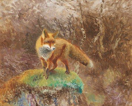 Bruno liljefors, fox in an autumn landscape.