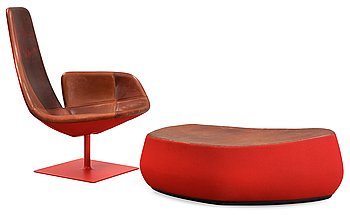 110. A Patricia Urquiola 'Fjord' easychair and ottoman by Moroso, Italy.