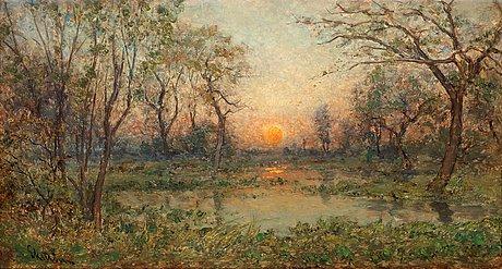 Per ekström, french landscape with setting sun.