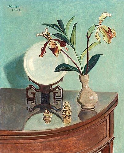 Einar jolin, stilleben med orkidéer och orientaliska föremål.