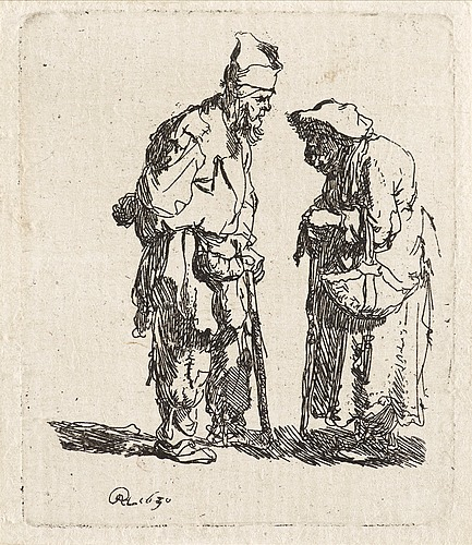 "Rembrandt harmensz van rijn, ""beggar man and woman conversing""."