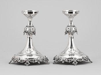 263205. LJUSSTAKAR, ett par, silver, Lars Larsson  Co, Göteborg 1870. Tot vikt 540g.