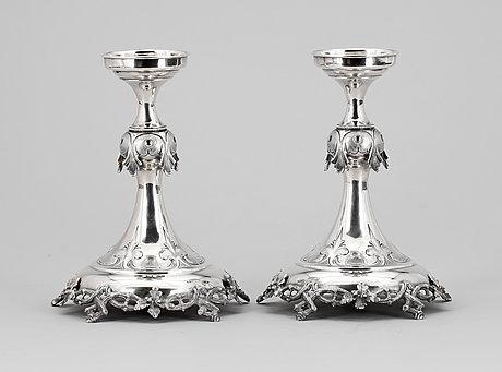 Ljusstakar, ett par, silver, lars larsson & co, göteborg 1870. tot vikt 540g.